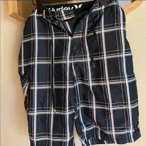Hurley: Hybrid Board Shorts, Black Plaid, Sz.32